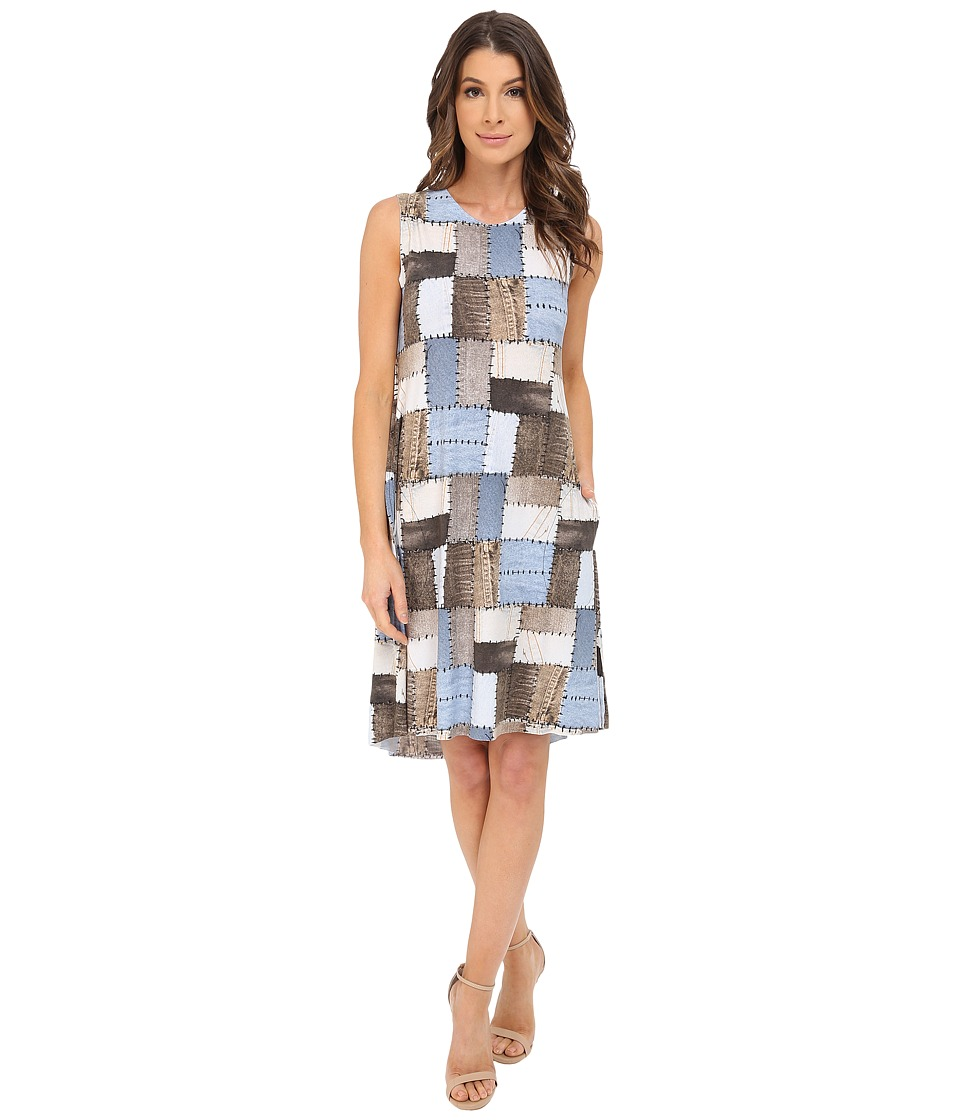 KAMALIKULTURE by Norma Kamali - Sleeveless Swing Dress (Blue Patchwork) Women's Dress