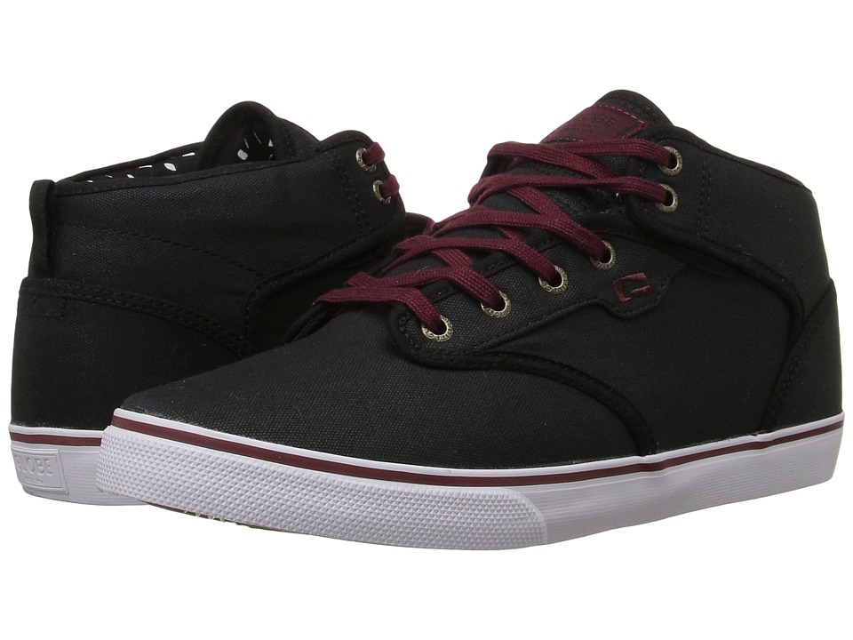Globe - Motley Mid (Black/Burgundy) Men's Skate Shoes
