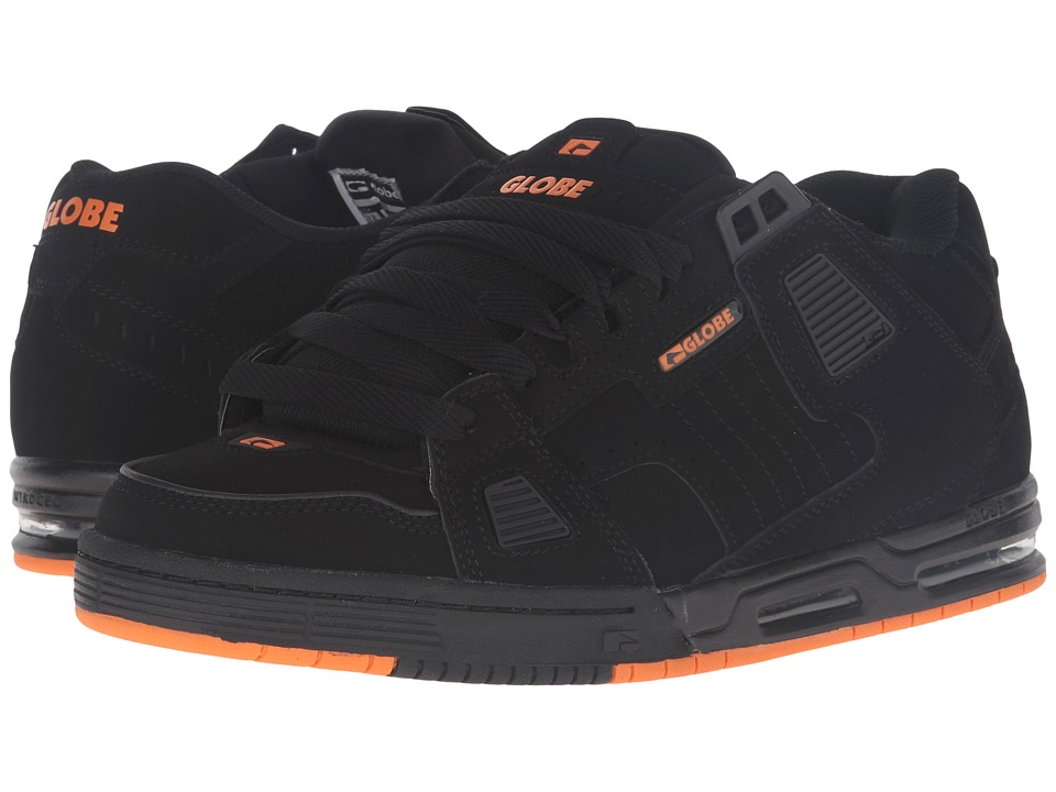 Globe - Sabre (Black/Black/Orange) Men's Skate Shoes