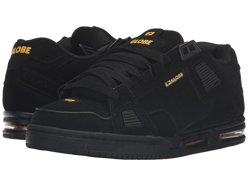 Globe - Sabre (Black/Black/Yellow) Men's Skate Shoes