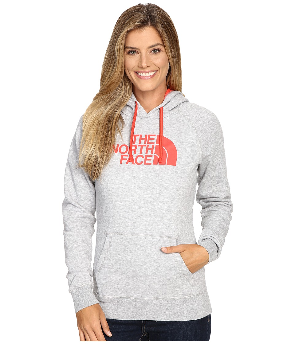 The North Face - Half Dome Hoodie (TNF Light Grey Heather/Melon Red) Women's Sweatshirt