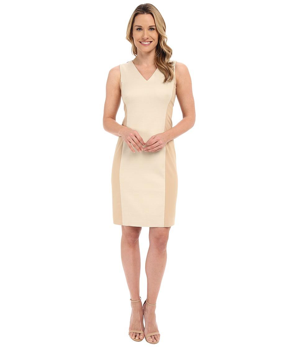 Ellen Tracy Hopsack Fitted Sheath Dress (New Dune) Women