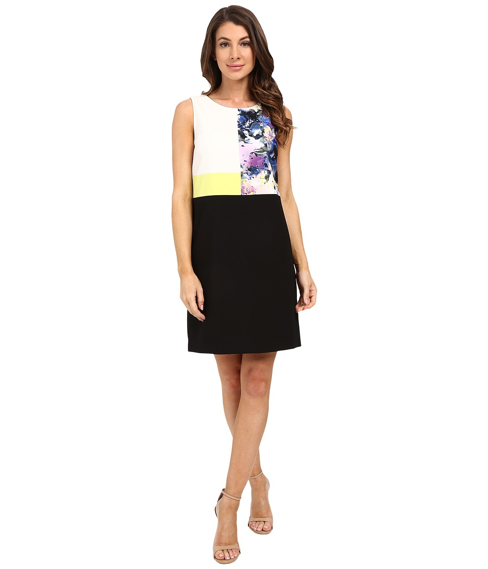 Ellen Tracy - Mixed Media Shift Dress (Botanical Multi) Women's Dress