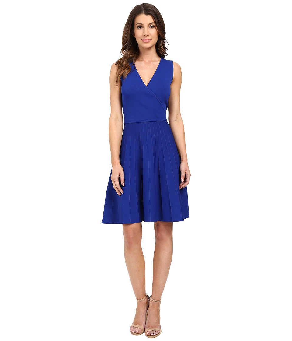 Ellen Tracy - Stripe Inset Fit and Flare Dress (Azure) Women's Dress