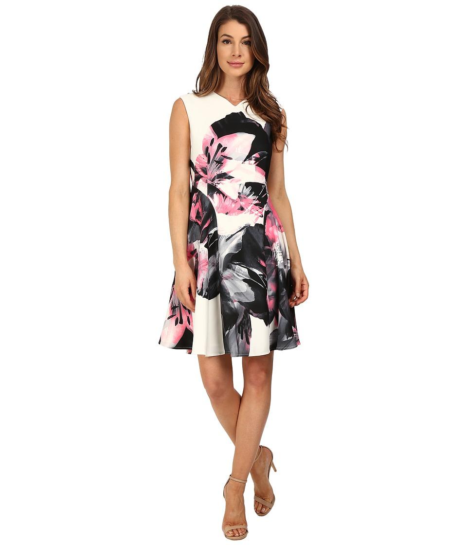 Ellen Tracy Printed Soft-Fold Dress (Lilies Magnolis) Women