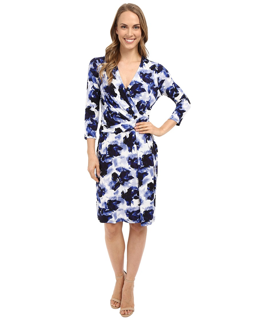 Ellen Tracy - Knit Twist Dress (Watercolor Navy) Women's Dress