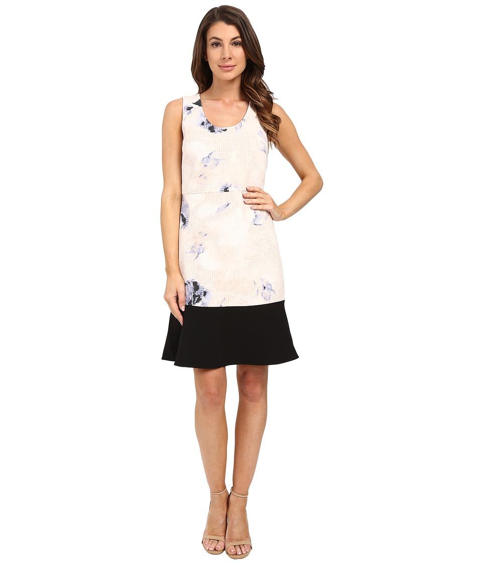 Ellen Tracy Flounce Sheath Dress (Dream Pixel Petal) Women