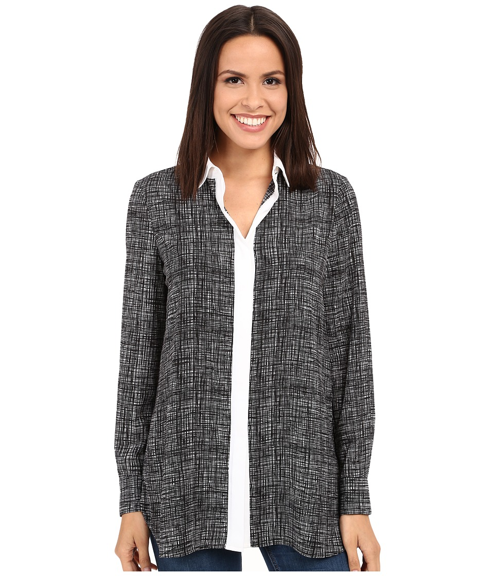 Ellen Tracy - Boyfriend Shirt (Papyrus Black) Women's Clothing