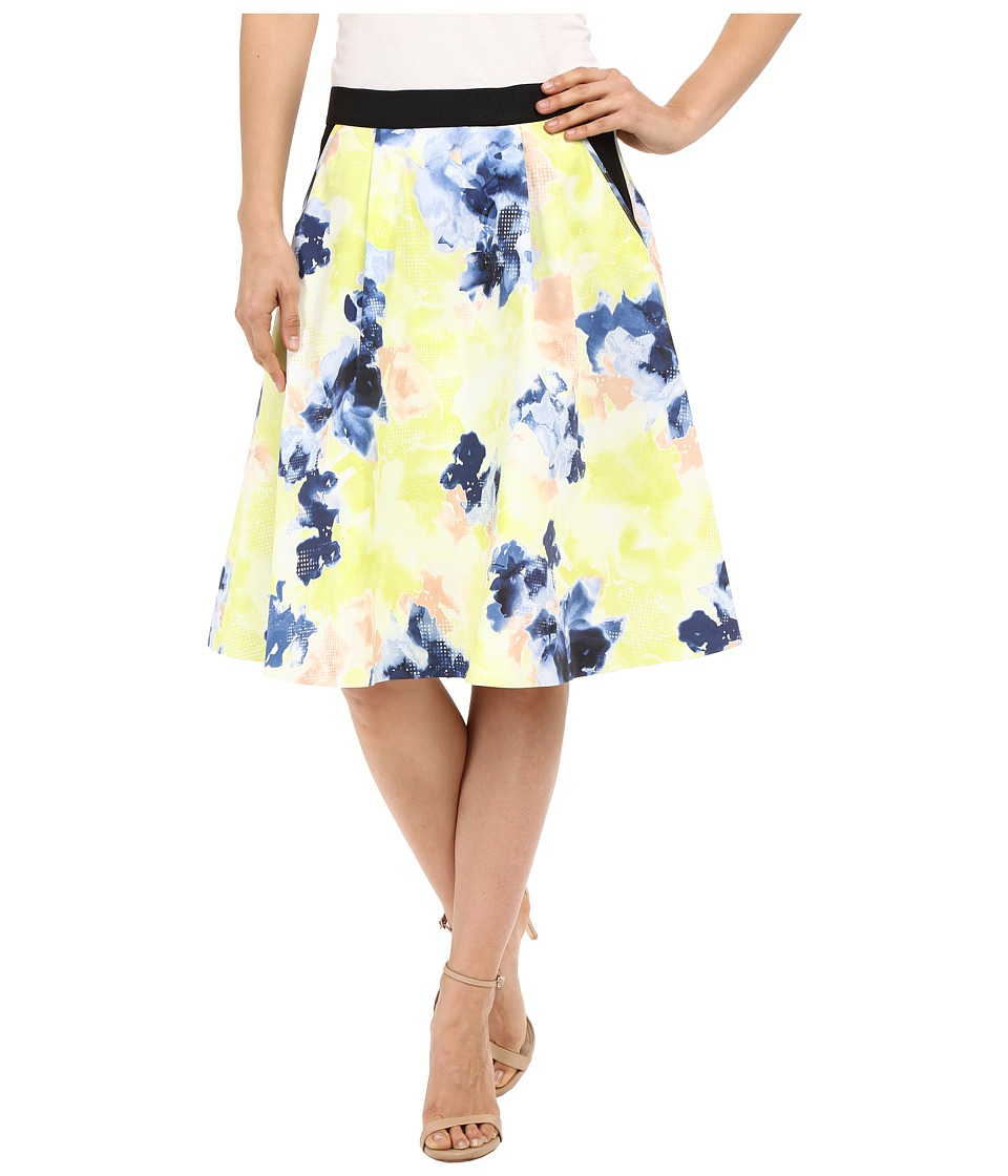 Ellen Tracy - Elastic Waist Pleated Skirt (Floral Matrix Multi) Women's Skirt