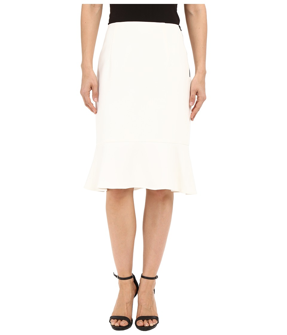 Ellen Tracy - Flounce Hem Pencil Skirt (Off-White) Women's Skirt