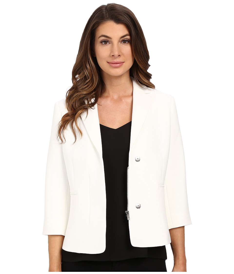Ellen Tracy - Hidden Zip Front Blazer (Off-White) Women's Jacket