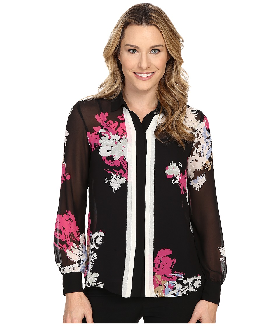 Ellen Tracy - Layered Placket Button Front Blouse (Vibrant Blooms Multi) Women's Blouse