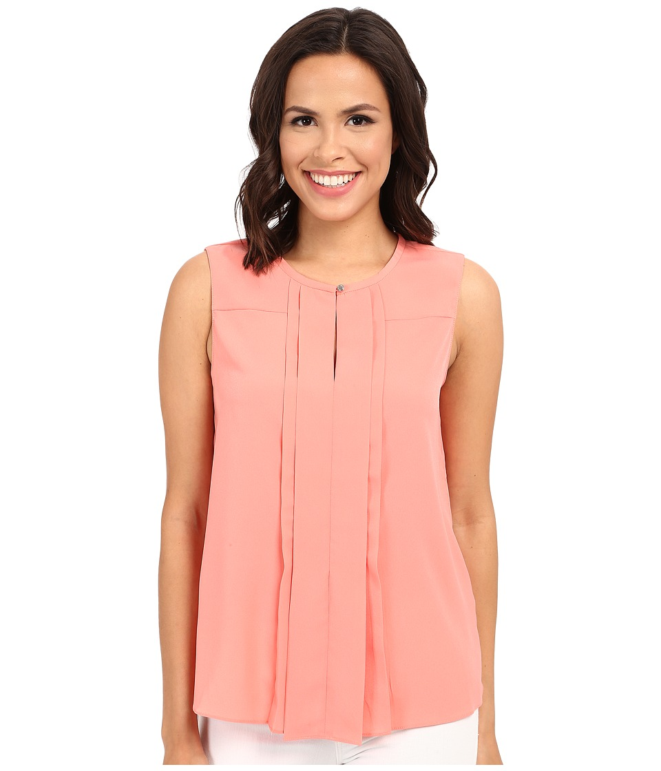 Ellen Tracy - Pleat Front Keyhole Shell (Coral Rose) Women's Clothing