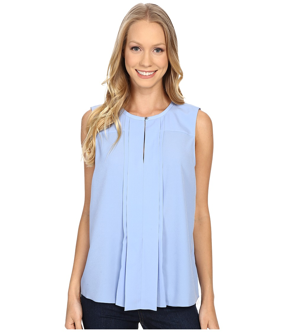 Ellen Tracy - Pleat Front Keyhole Shell (Bluebell) Women's Clothing