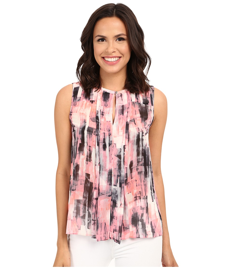 Ellen Tracy - Pleat Front Printed Keyhole Shell (Ethereal Multi) Women's Clothing