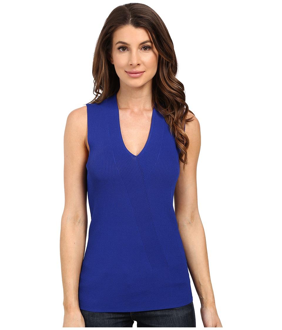 Ellen Tracy - Placed Rib Shell (Azure) Women's Clothing