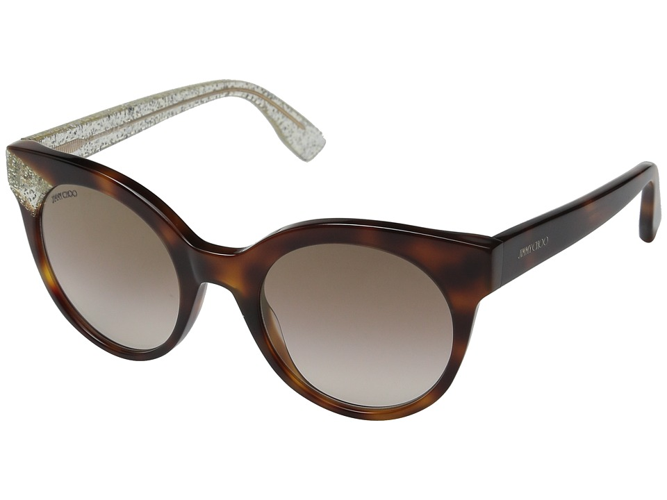 Jimmy Choo - Mirta/S (Havana/Brown Mirror Gold) Fashion Sunglasses