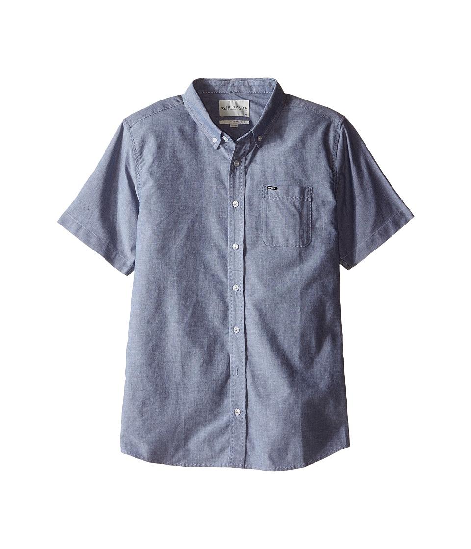 Rip Curl Kids - Ourtime Short Sleeve Shirt (Big Kids) (Insignia Blue) Boy's Clothing