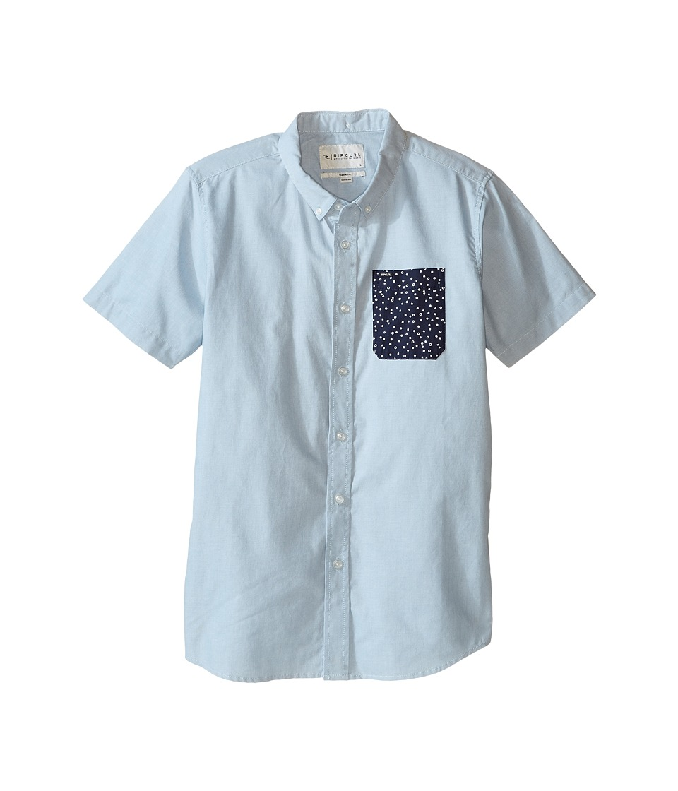 Rip Curl Kids - Ourtime Short Sleeve Shirt (Big Kids) (Blue) Boy's Clothing