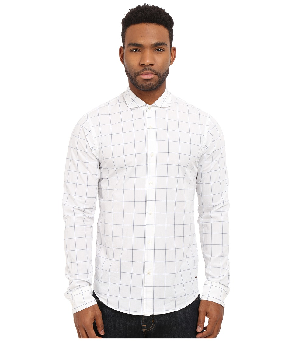 Scotch & Soda - Easy Open Woven Check Shirt (White) Men's Long Sleeve Button Up