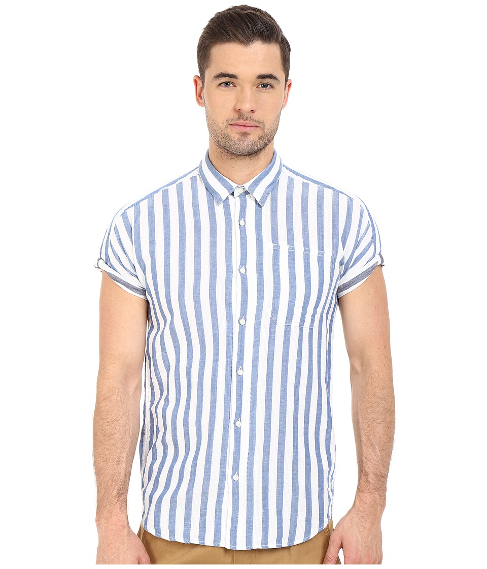 Scotch & Soda - Short Sleeve Shirt in Open Weave with Contrast Inside (Light Blue) Men's Clothing