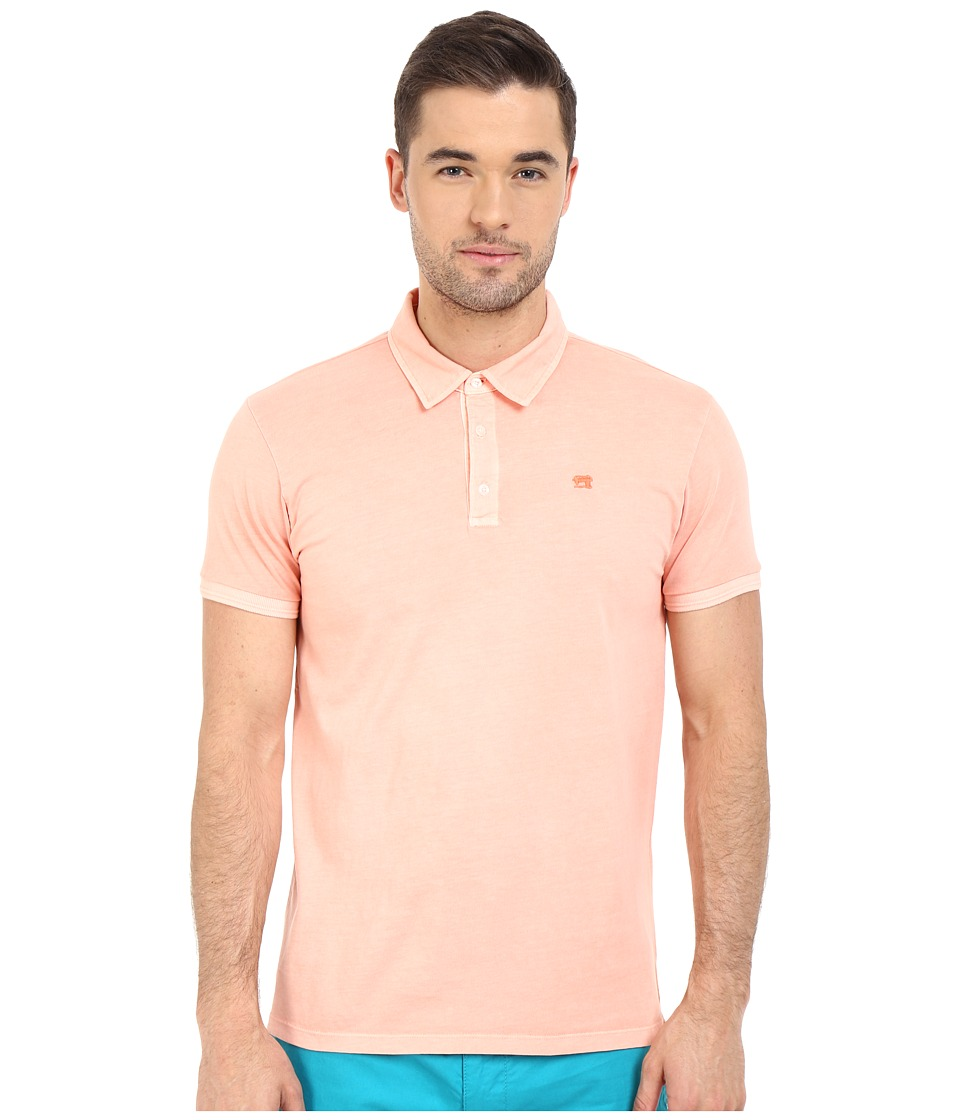 Scotch & Soda - Garment Dyed Slub Jersey Polo (Bleached Tangerine) Men's Clothing