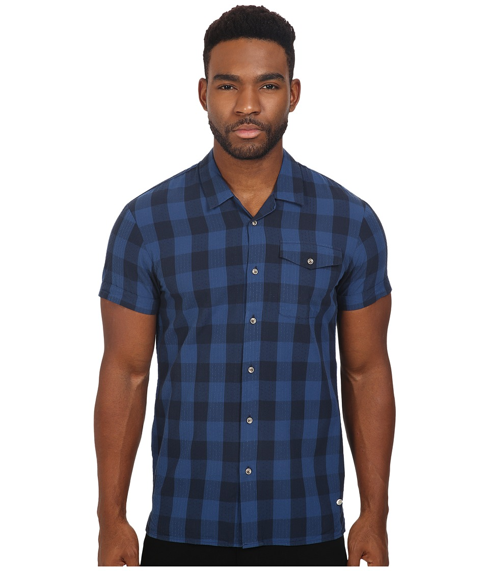 Scotch & Soda - Short Sleeve Check Shirt with Double Neps Yarn (Midnight) Men's Clothing