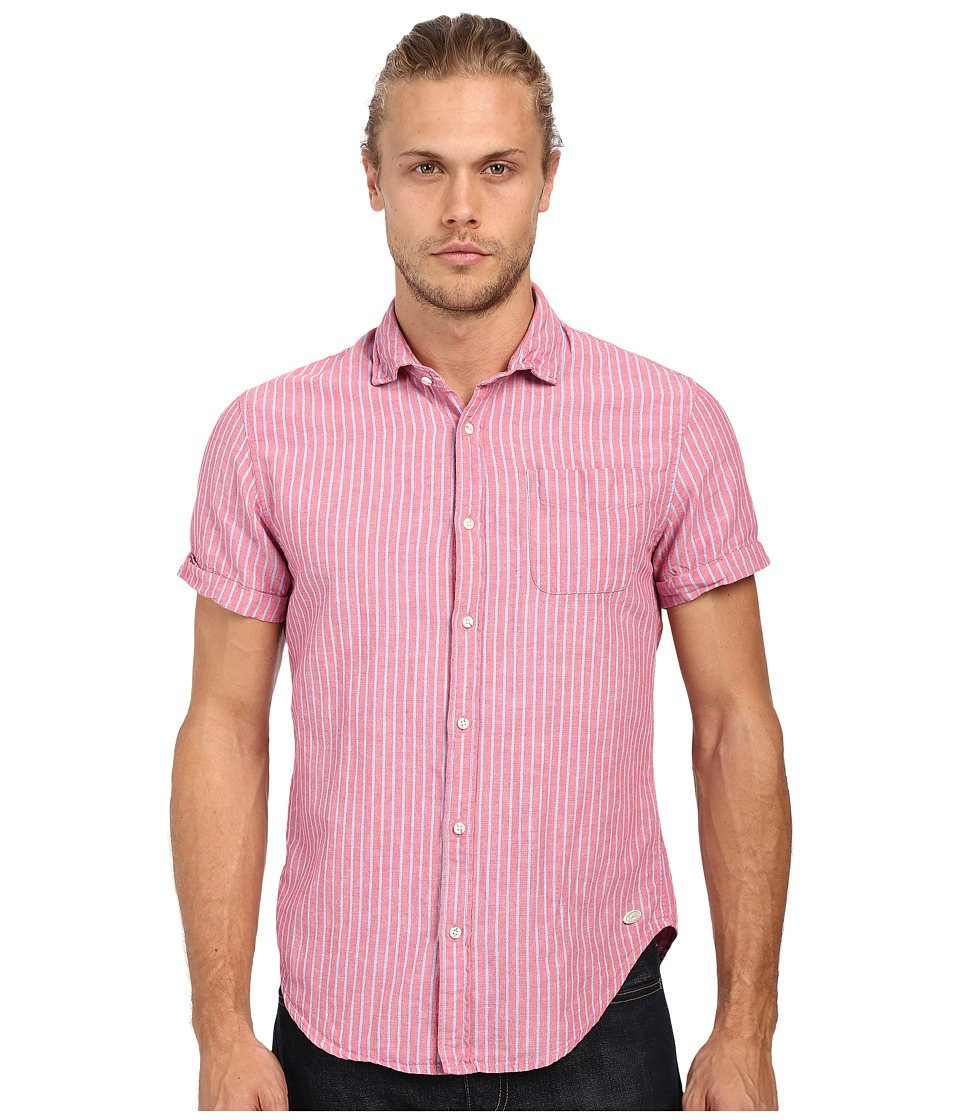 Scotch & Soda - Relaxed Short Sleeve Shirt in Crinkled Linen Quality (Pink) Men's Clothing