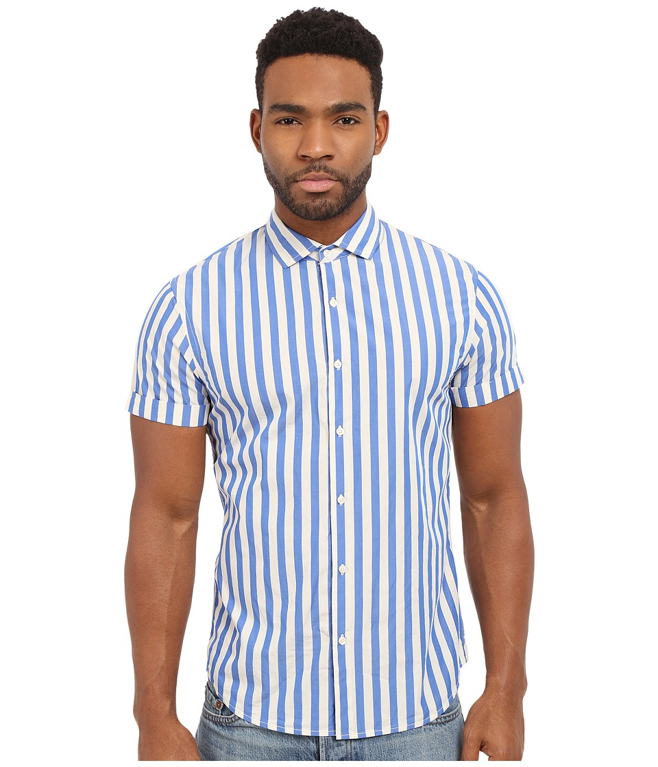 Scotch & Soda - Short Sleeve Blue Shirt (Blue) Men's Short Sleeve Button Up