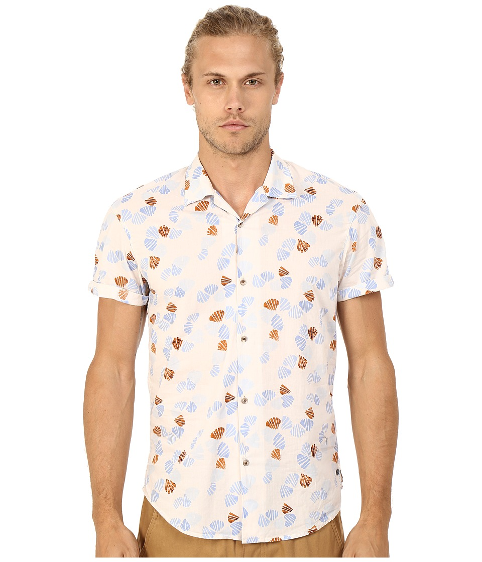 Scotch & Soda - All Over Printed Short Sleeve Shirt in Hawaii Styling (Beige) Men's Short Sleeve Button Up
