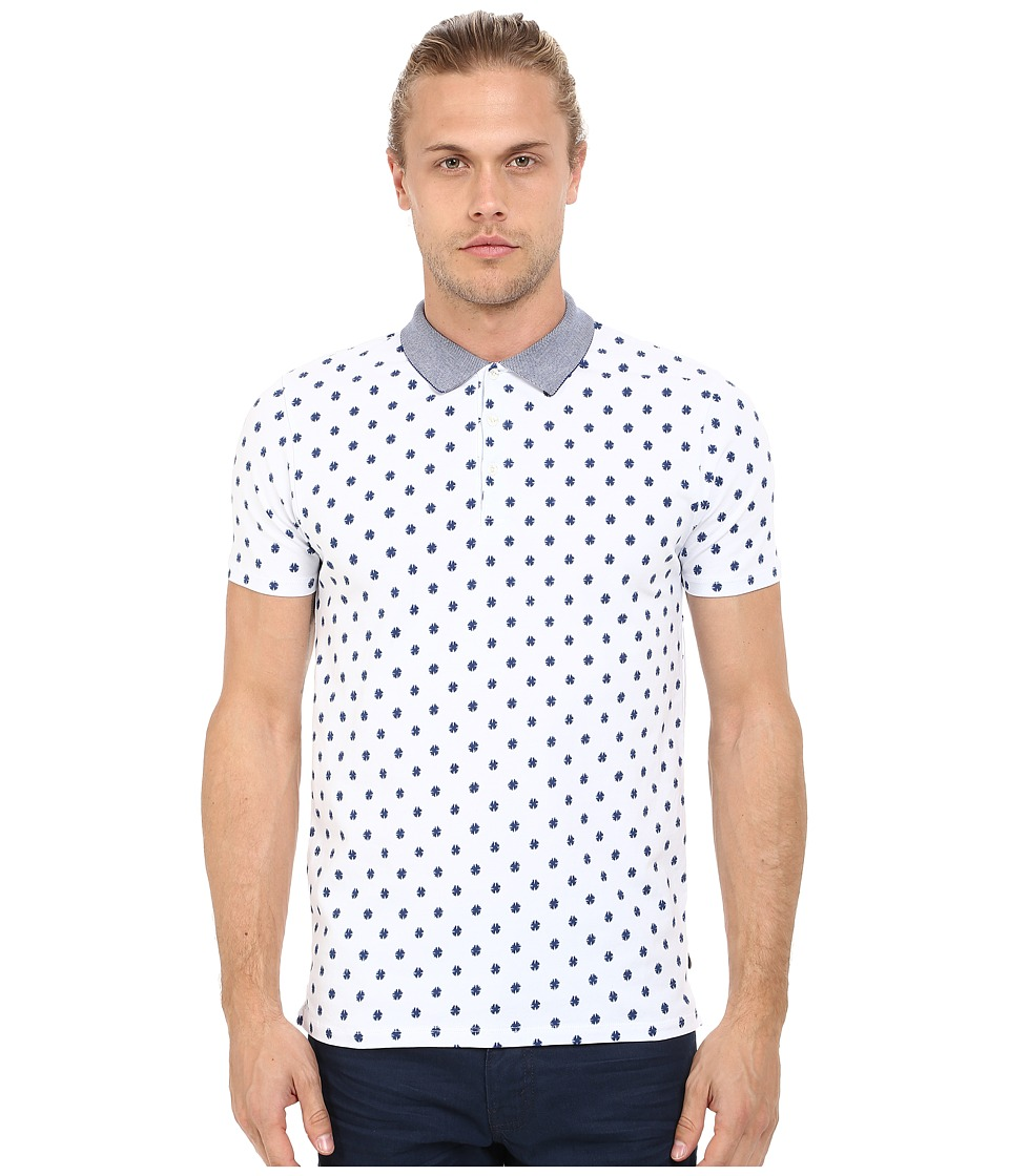 Scotch & Soda - Cotton/Elastane Polo with Fancy Collar (White) Men's Clothing
