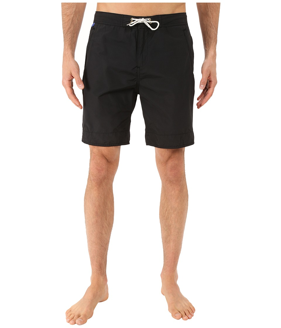 Scotch & Soda - Long Length Swim Shorts in Solid All Over Printed (Black) Men's Swimwear