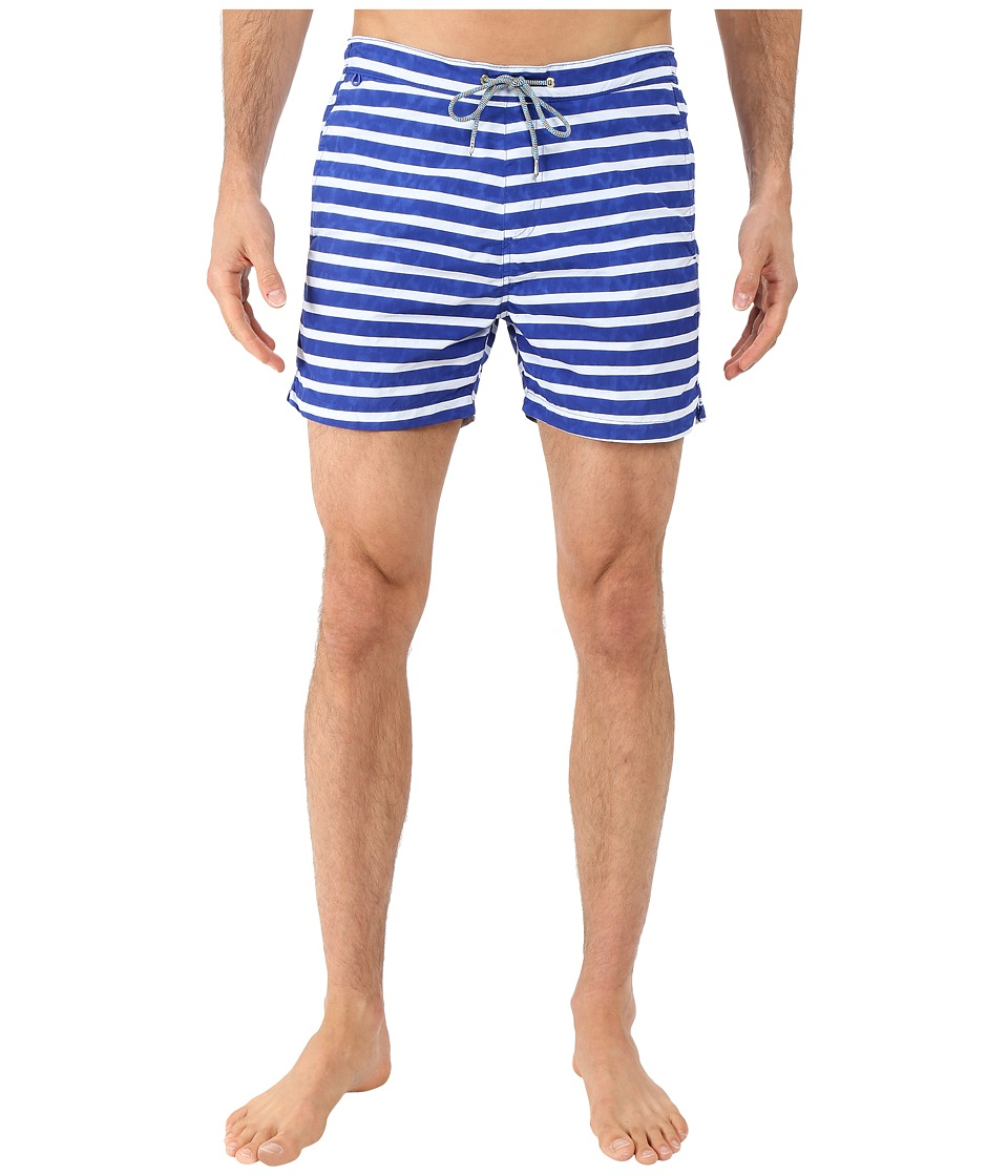 Scotch & Soda - Bright Coloured Swim Shorts in Solid and Stripes (Cobalt) Men's Swimwear