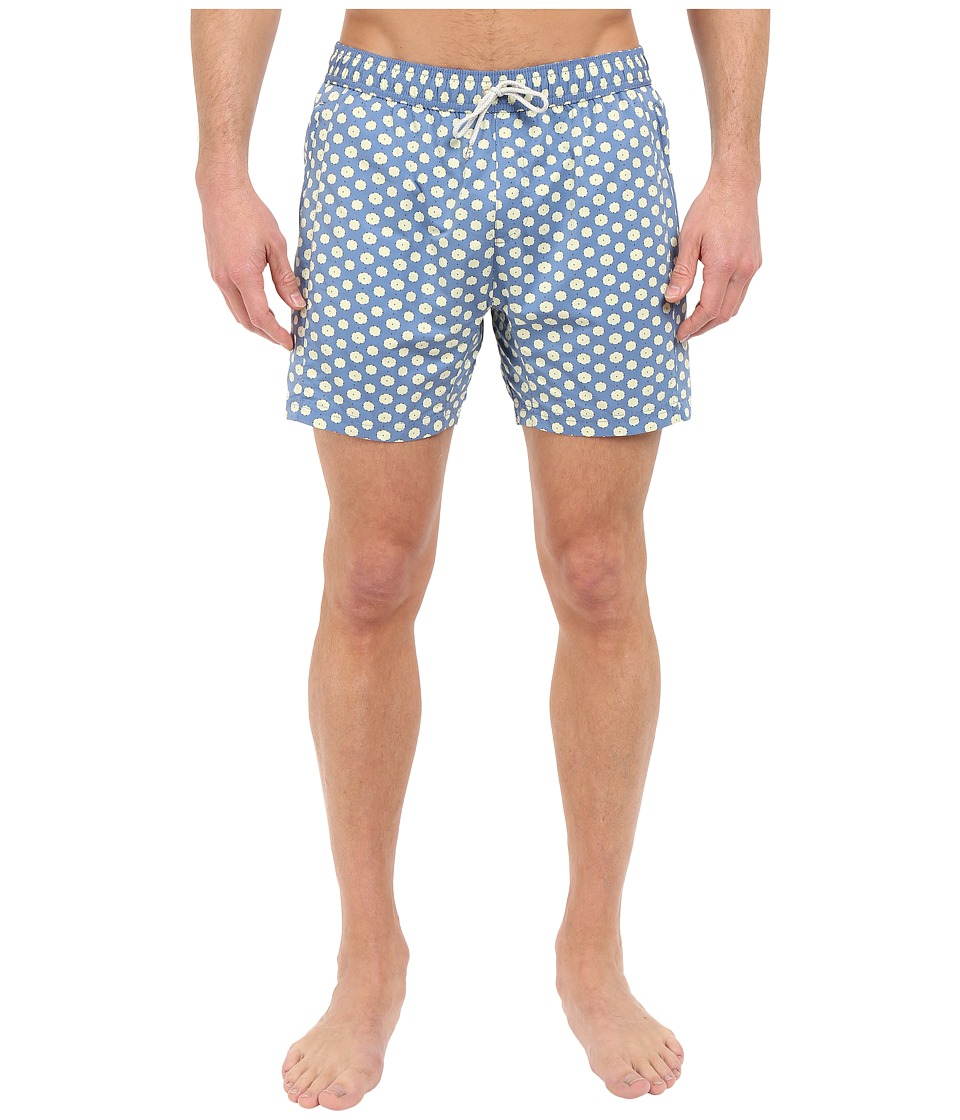 Scotch & Soda - Medium Length Swim Shorts with Cut Sewen Parts in 4 Solids (Blue) Men's Swimwear