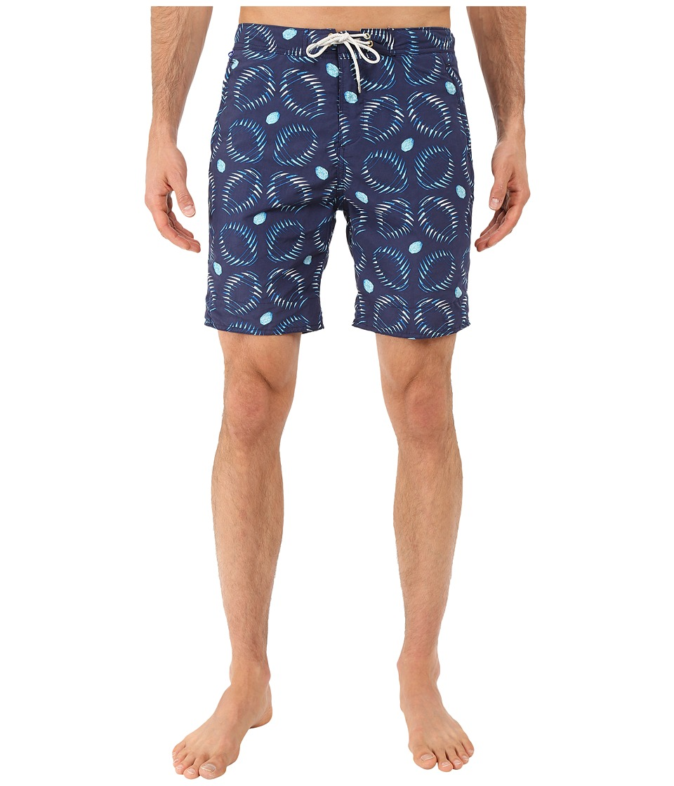 Scotch & Soda - Long Length Swim Shorts in Solid All Over Printed (Navy) Men's Swimwear
