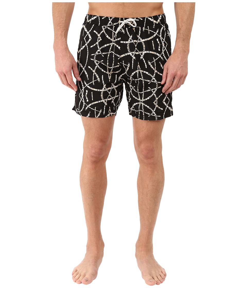 Scotch & Soda - Medium Length All Over Printed Swim Shorts with Contrast Waistband (Black) Men's Swimwear
