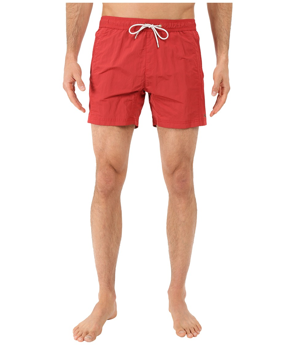 Scotch & Soda - Medium Length Swim Shorts with Cut Sewen Parts in 4 Solids (Cherry Red) Men's Swimwear