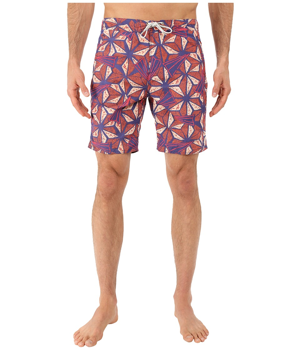 Scotch & Soda - Long Length Swim Shorts in Solid All Over Printed (Red) Men's Swimwear
