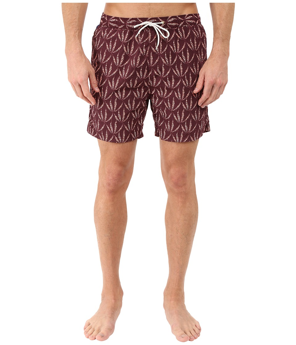 Scotch & Soda - Short Length All Over Printed Swim Shorts with Soft Touch in Cotton/Nylon Quality (Burgundy) Men's Swimwear