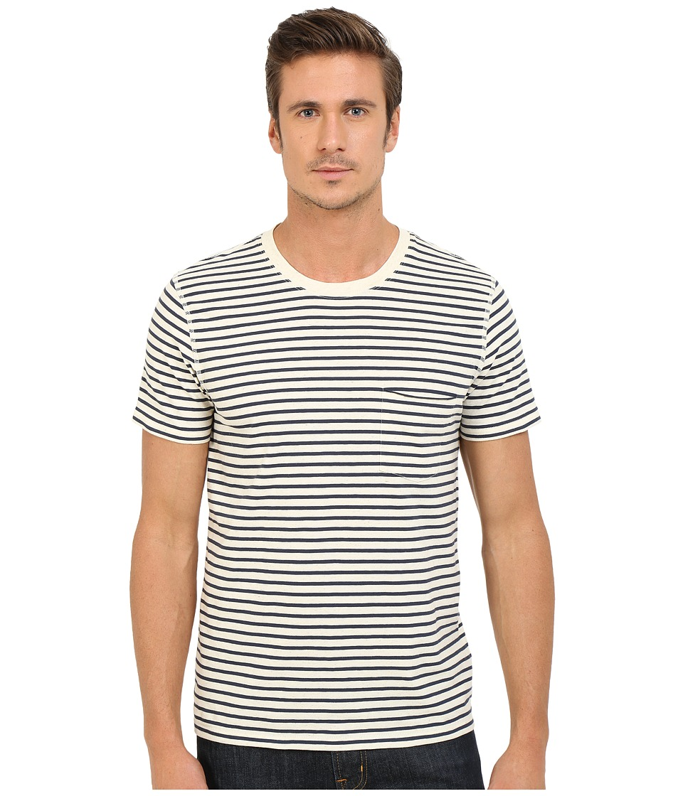7 For All Mankind - Short Sleeve Stripe Ringer Tee (Ecru Navy Stripe) Men's T Shirt