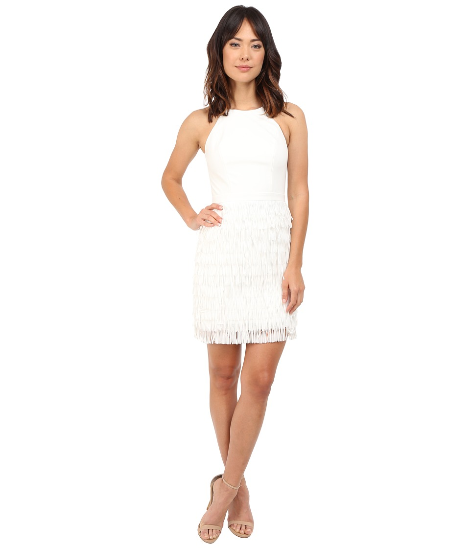 Aidan Mattox - Tiered Fringe Halter Cocktail Dress (Ivory) Women's Dress
