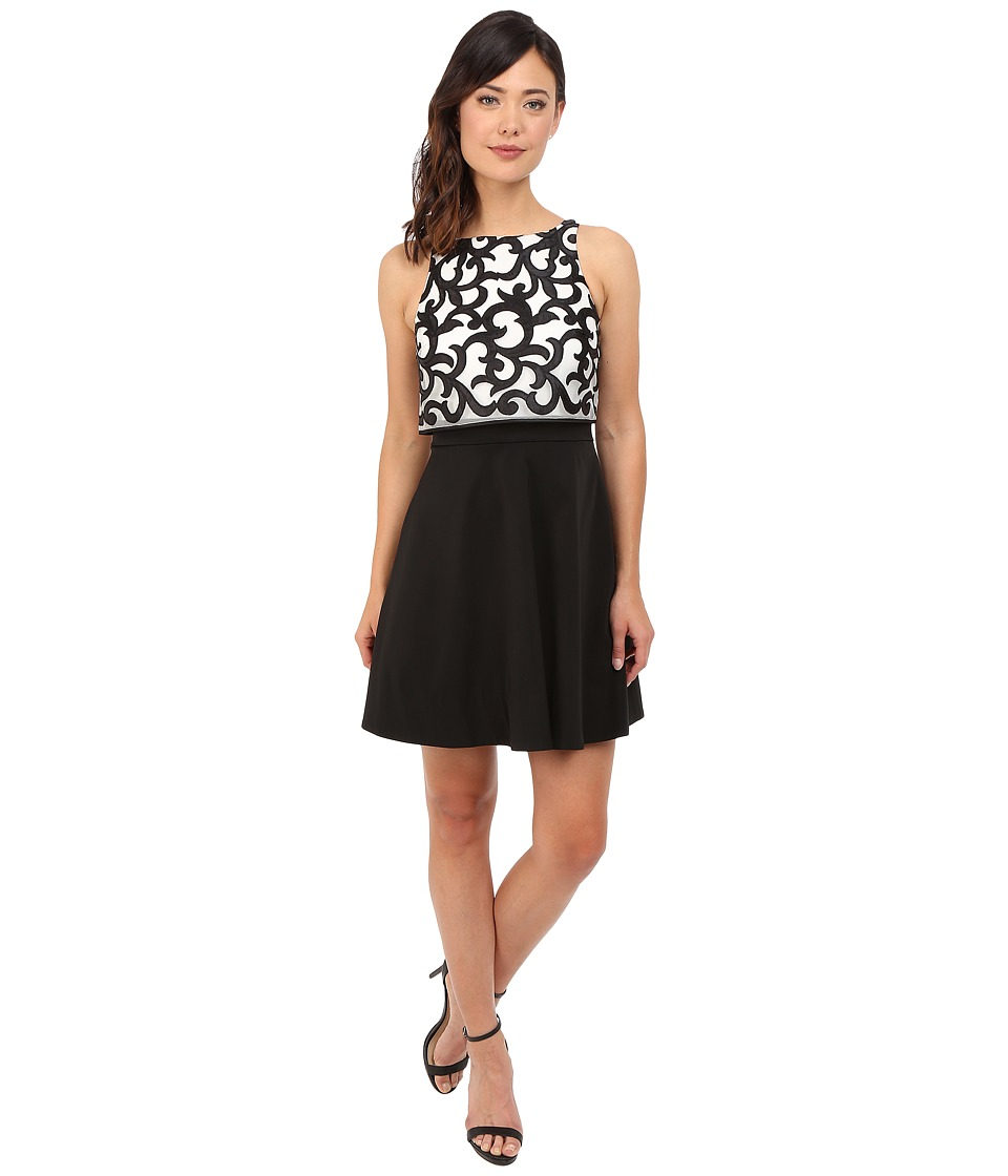Aidan Mattox - Popover Top Cocktail Dress with Embroidered Scroll Detail (Ivory/Black) Women's Dress