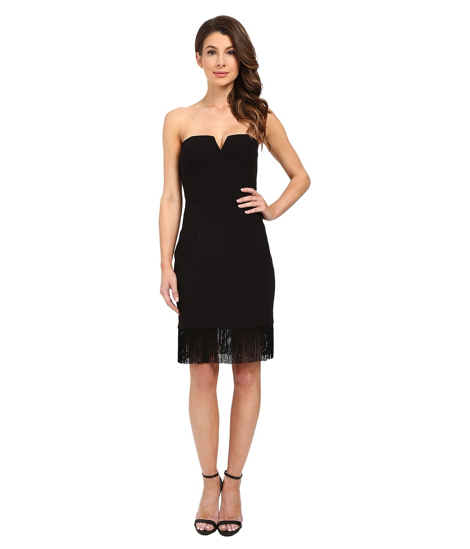 Aidan Mattox Strapless Crepe Cocktail Dress with Fringe Hem Detail (Black) Women