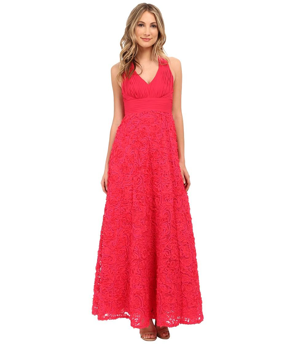 Aidan Mattox Long Rosette Halter A-Line Gown (Lipstick) Women