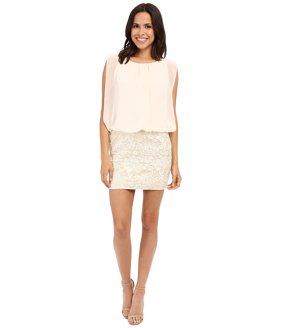 Aidan Mattox Sleeveless Brocade Cocktail Dress with Solid Chiffon Blouson Top (Ivory/Gold) Women