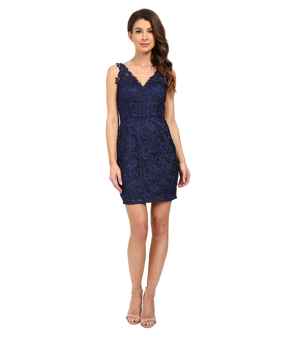 Aidan Mattox - V-Neck All Over Lace Cocktail Dress (Navy) Women's Dress