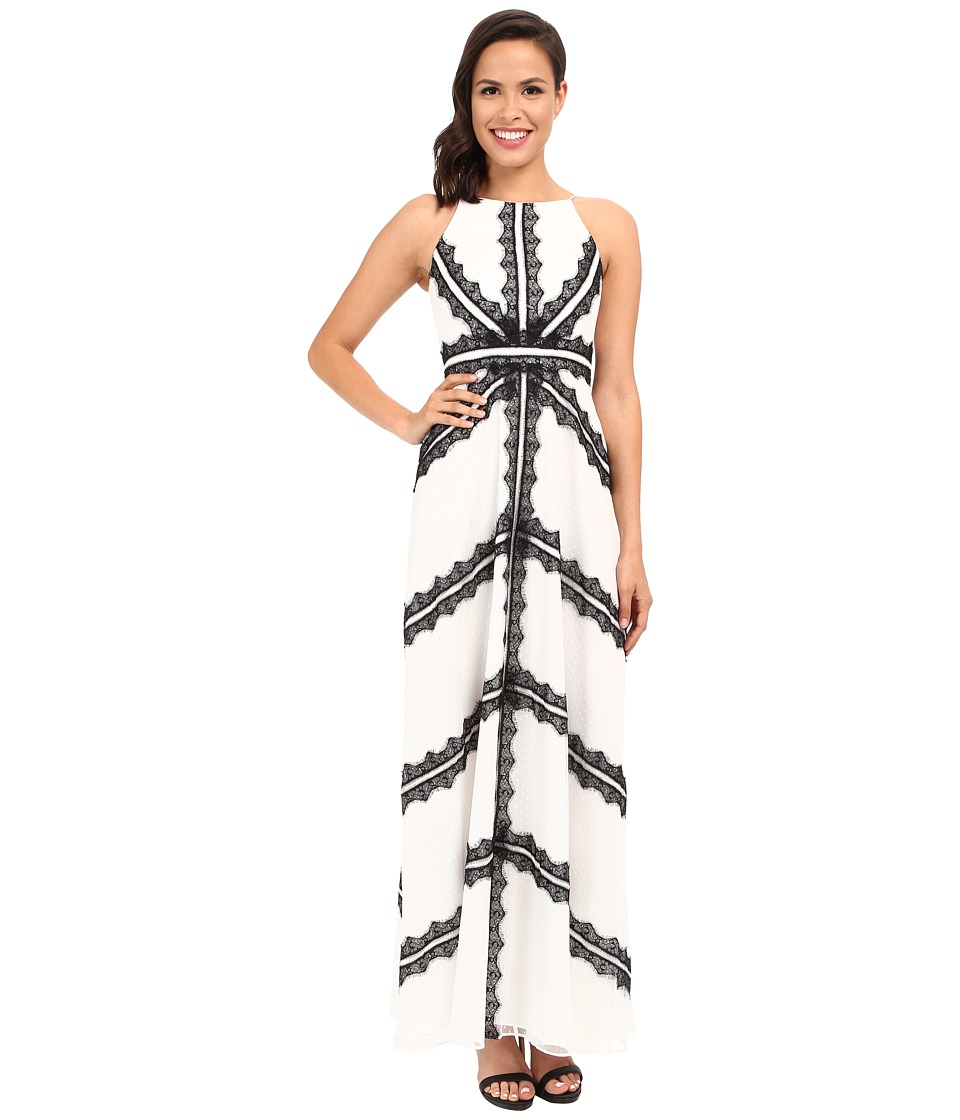 Aidan Mattox Bo Ho Long Ivory Gown with Black Lace Detail Ivory-Black Dress