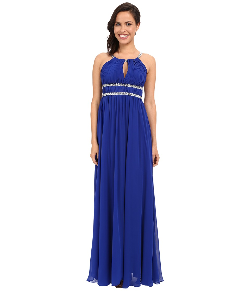 Aidan Mattox Chiffon Grecian Gown with Beaded Trim (Neptune) Women