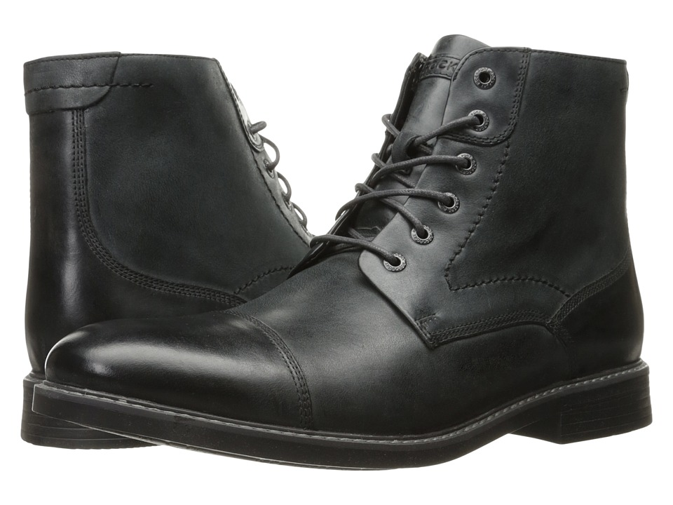 Rockport Classic Break Cap Toe Zip Boot (Dark Shadow Leather) Men