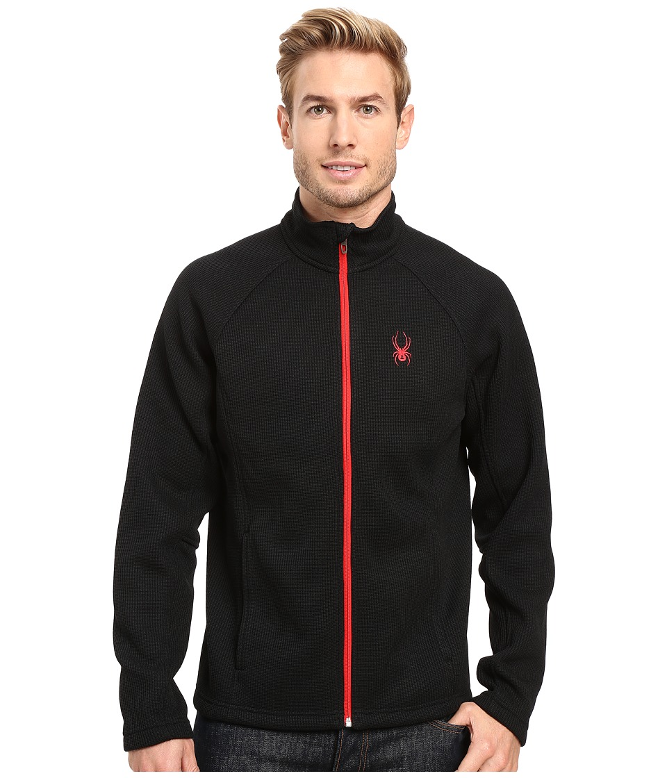 Spyder - Constant Full Zip Mid Weight Core Sweater (Black/Red) Men's Sweater